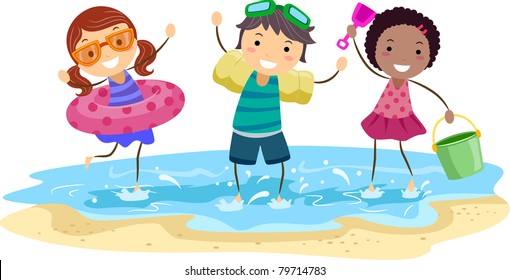 Kids at the Beach Clipart Images, Stock Photos & Vectors ...