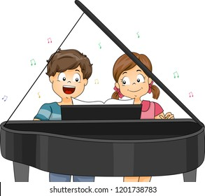 Illustration of Kids Playing a Piano Piece Together and Singing a Song