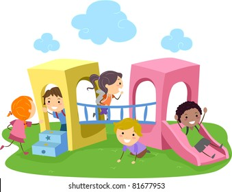 Illustration of Kids Playing in a Playground