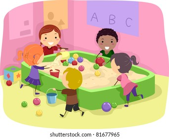 Illustration of Kids Playing with a Sand Box