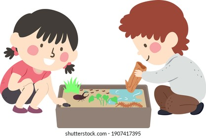 Illustration of Kids Playing with a Sensory Bin with Insects