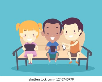 Illustration of Kids Playing with Tablet and Mobile Phone Sitting on a Sofa at Home