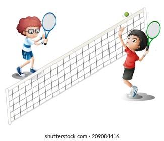 Illustration of kids playing tennis