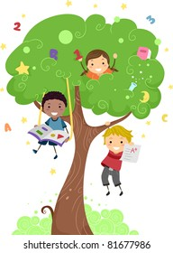 Illustration of Kids Playing with a Tree
