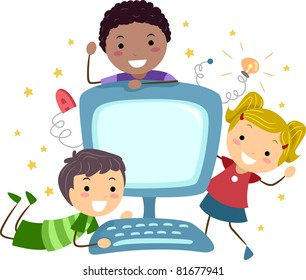 Illustration of Kids Posing with a Computer
