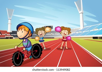 illustration of kids and race track in a stadium