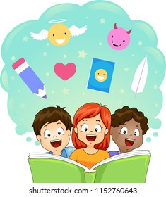 Illustration of Kids Reading a Big Book of Fable with Pencil, Angel, Devil, Heart and Feather Elements