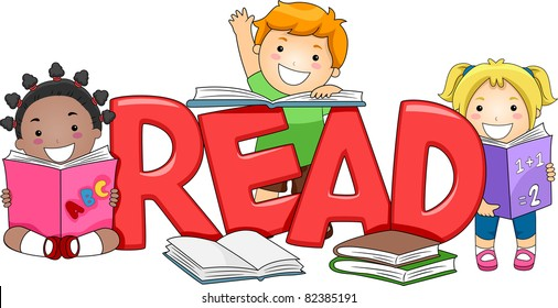 Children Reading Clipart Stock Vectors, Images & Vector Art ...