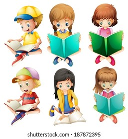 Illustration of the kids reading on a white background
