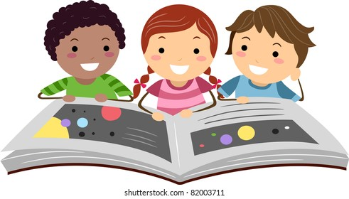 Illustration of Kids Reading a Science Book
