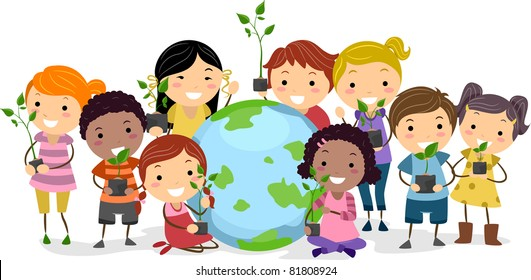 Illustration of Kids Representing Different Ethnic Backgrounds