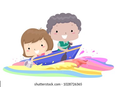 Illustration of Kids Riding a Boat Along a Colorful Water with the Girl Collecting Water and the Boy Rowing the Boat