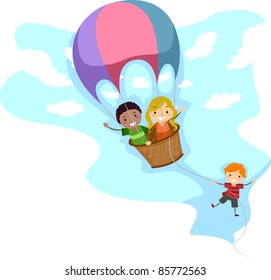 Illustration of Kids Riding a Hot Air Balloon