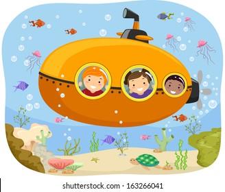Illustration of Kids Riding a Mini Submarine