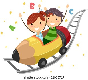 Illustration of Kids Riding on a Pencil Ride