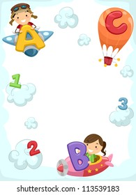 Illustration of Kids Riding Planes Carrying Letters of the Alphabet