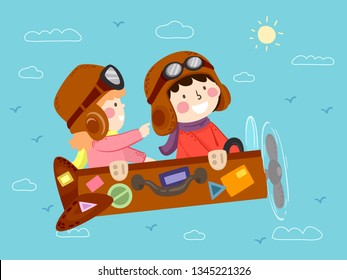 Illustration of Kids Riding a Retro Suitcase Fantasy Airplane Flying Against Doodle Clouds