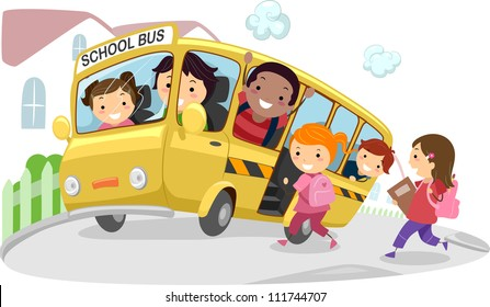 Illustration of Kids Riding a School Bus on its Way to School