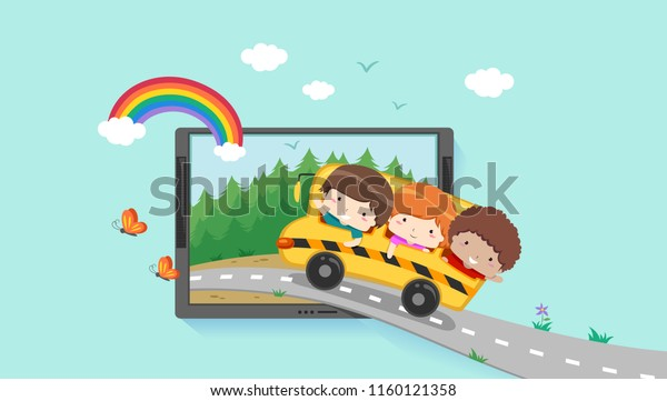 Illustration of Kids Riding School Bus Into a Scene Inside a Computer Tablet. Virtual Field Trip