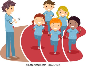 Illustration of Kids Running Around a Race Track