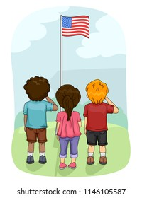 Illustration of Kids Saluting the American Flag Outdoors