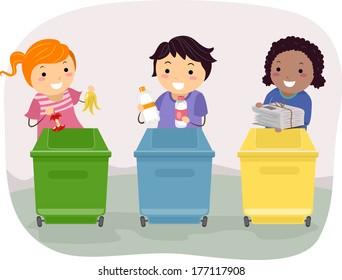 Illustration of Kids Segregating Trash