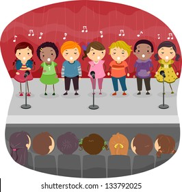 Illustration of Kids singing on the Stage