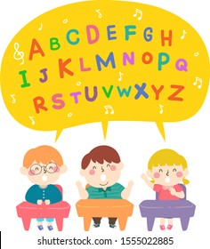 Illustration of Kids Sitting in Class and Singing the Alphabet Song in a Big Speech Bubble