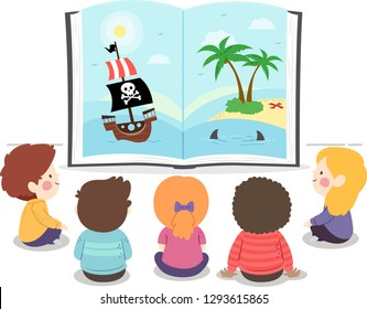 Illustration of Kids Sitting Down on the Floor and Looking at an Open Book with Pirate Story
