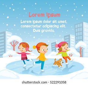 Illustration with kids skating with snowy landscape