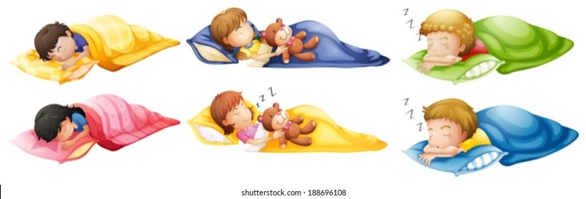 Illustration of the kids sleeping soundly on a white background
