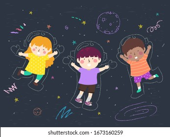 Illustration of Kids Smiling and Wearing Doodle Astronaut Suits and Floating in Outer Space