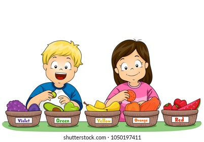 Illustration of Kids Sorting Fruits By Color in Different Baskets from Violet, Green, Yellow, Orange and Red