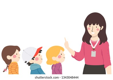 Illustration of Kids Student Lining Up and Listening to their Teacher In Front