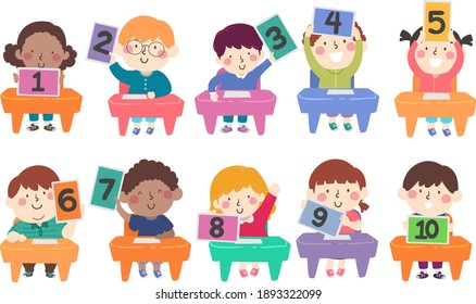 Illustration of Kids Students Sitting Down and Flashing Numbers from One to Ten on their Computer Tablet