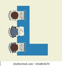 Illustration of Kids Students Using Laptop at School On Letter L Table