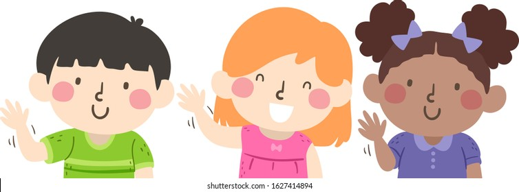 Illustration of Kids Students Waving Hello Following the Instruction Wave With Your Right Hand