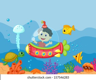 illustration of a kids in the submarine