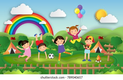 Illustration of kids summer camp education with children doing activities enjoy on camping daytime. Creative Idea paper art style. Vector