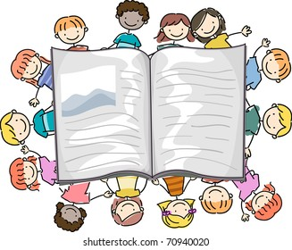 Illustration of Kids Surrounding a Large Book