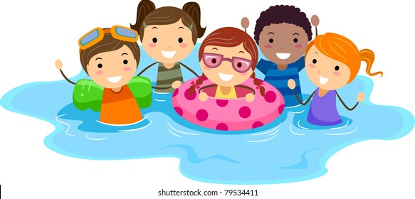 swim kids stock photos illustrations clip art images shutterstock rh shutterstock com Swimming Cartoon Competitive Swimming Clip Art