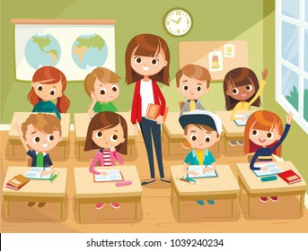 Illustration with kids and teacher in a classroom
