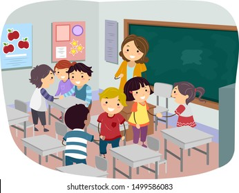 Illustration of Kids and Teacher in Classroom Getting To Know Each Other During the First Day of Class