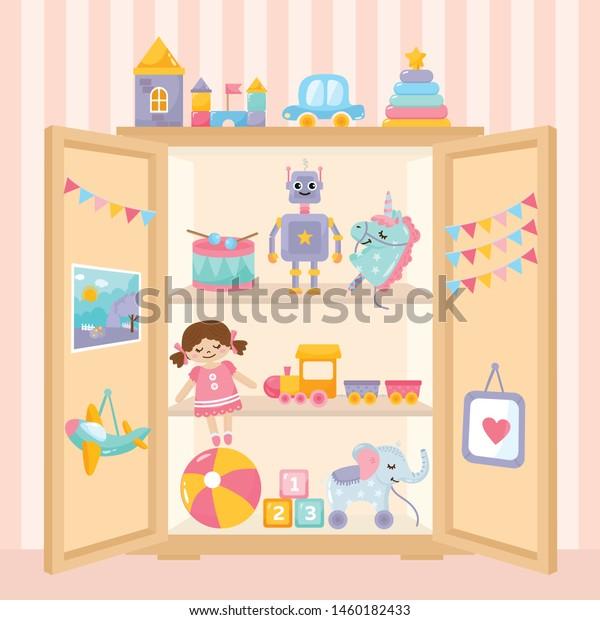 Illustration Kids Toys Collection Toys On Stock Vektorgrafik