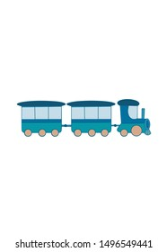Illustration of kids train or locomotive with wagon. Children's print for clothes, decor baby room, Icon, textile, books, wrapping paper, notebook, birthday. Boy print. Vector version.