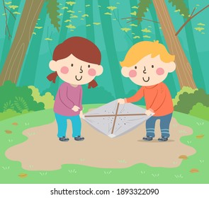 Illustration of Kids Using a Beating Sheet Outdoors Collecting Insects. Entomology.