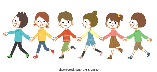 Illustration of kids walking hand in hand