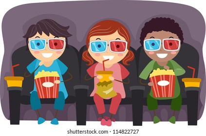 Illustration of Kids Watching a Movie with 3D Glasses While Eating Popcorn