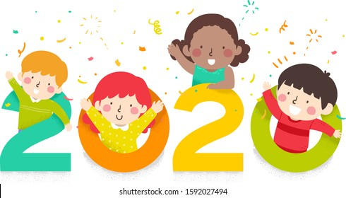 Illustration of Kids Waving and Welcoming the New Year 2020 with Confetti