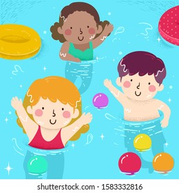 Illustration of Kids Waving While Inside a Swimming Pool with Balls and Floatation Device
